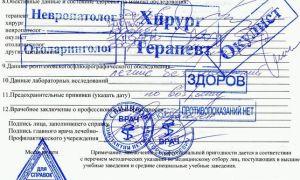 Образец справки 086/у.  Список врачей