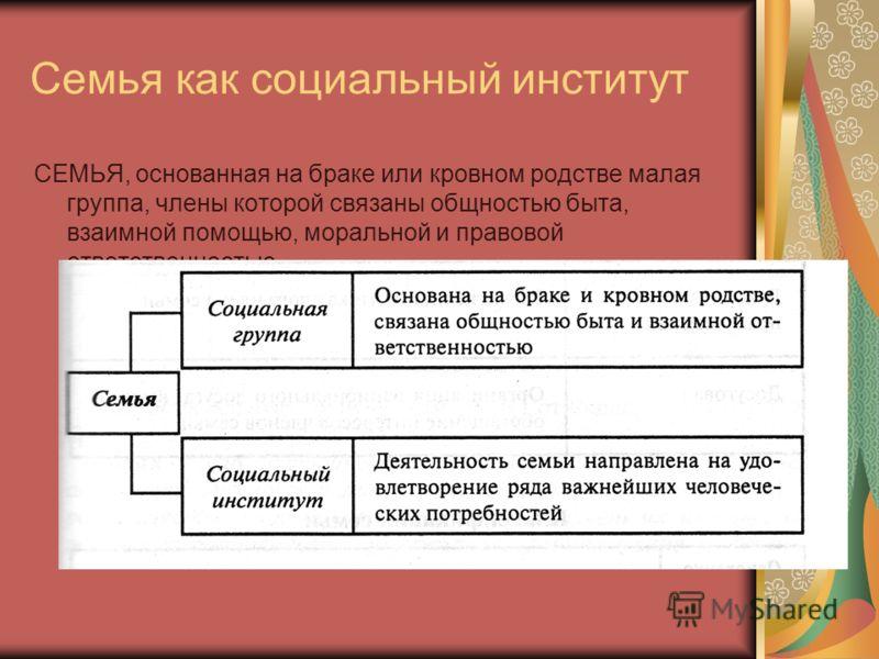Семья как социальный институт определение