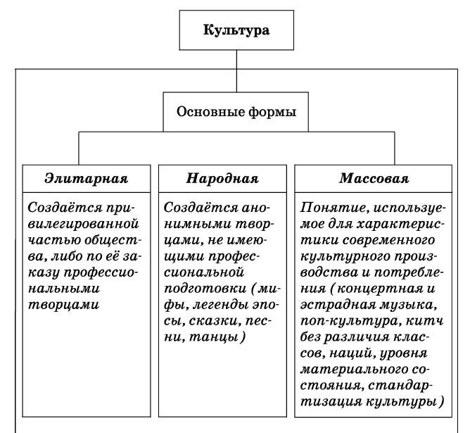 виды культуры обществознание