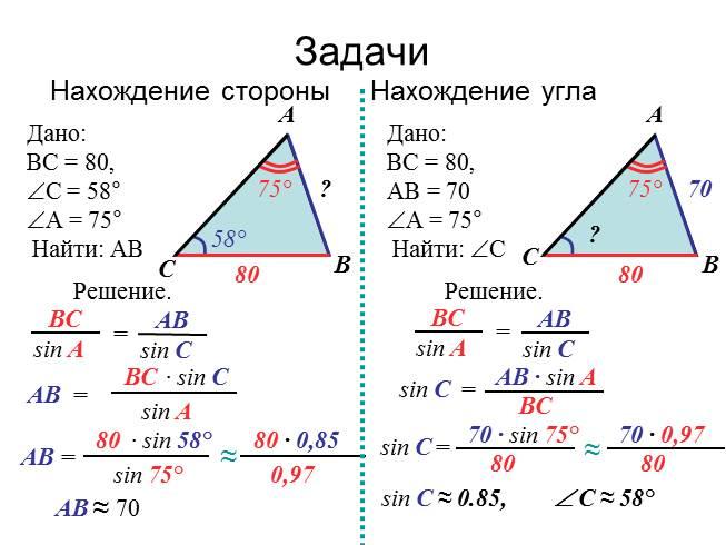 Примеры решения задач - теорема синусов