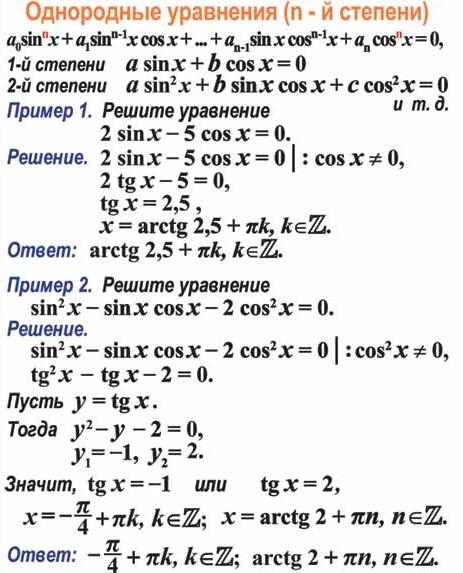 решение однородных уравнений